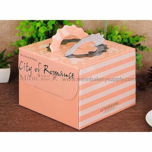 กล่องเค้ก 2 ปอนด์ มีหูหิ้ว City of Romance สีชมพู