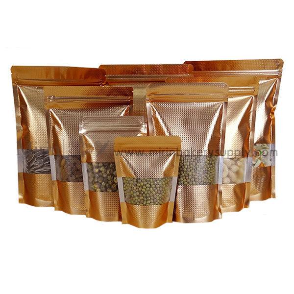 ถุงซิปตั้ง ฟอยล์ทอง Emboss 18*26cm/100ใบ